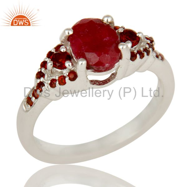 Natural Ruby and Garnet Sterling Silver Gemstone Halo Statement Ring