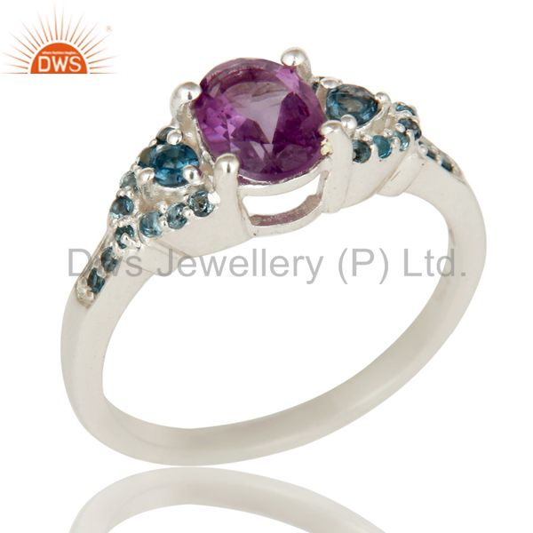 Natural Amethyst And Blue Topaz Sterling Silver Gemstone Halo Statement Ring