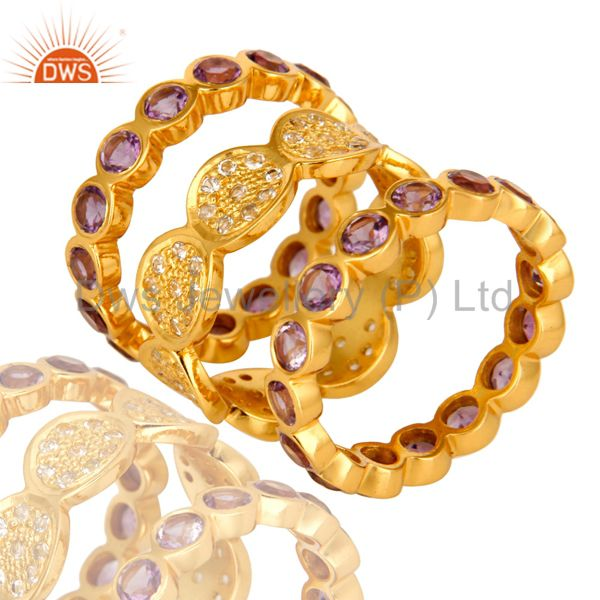 14K Yellow Gold Plated Amethyst And White Topaz Eternity Band Ring 3 Pcs Set