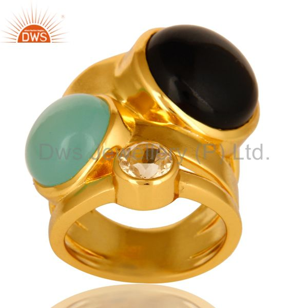 High Polish 14K Yellow Gold Plated Brass Black Onyx And Blue Chalcedony Ring