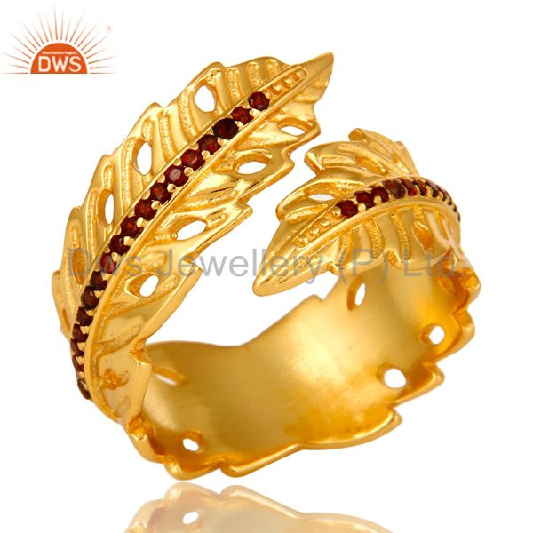 14K Yellow Gold Plated Brass Garnet Gemstone Fashion Leaf Design Adjustable Ring