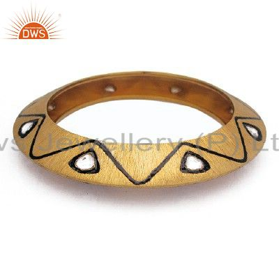 22K Yellow Gold Plated Sterling Silver Crystal CZ Polki Bangle Bracelet