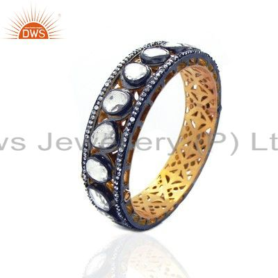 22k yellow gold plated brass crystal cz polki victorian look bangle