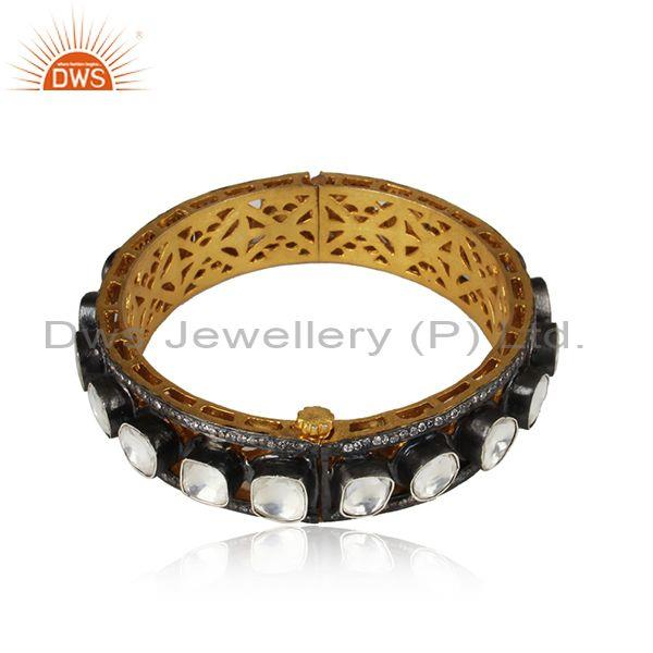 Latest Design !! 20ct Rose Cut Crystal Polki Victorian Style Party Wear Bangle