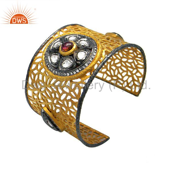 Handmade Sterling Silver Pink Tourmaline And CZ Filigree Cuff With Gold Plated