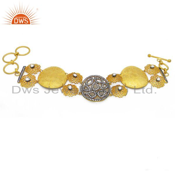 18k yellow gold plated sterling silver filigree design fashion bracelet with cz