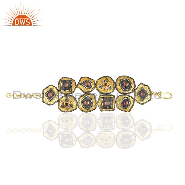 Pink Tourmaline Gemstone Solid 925 Silver Gold Plated Bracelet Manufacturers