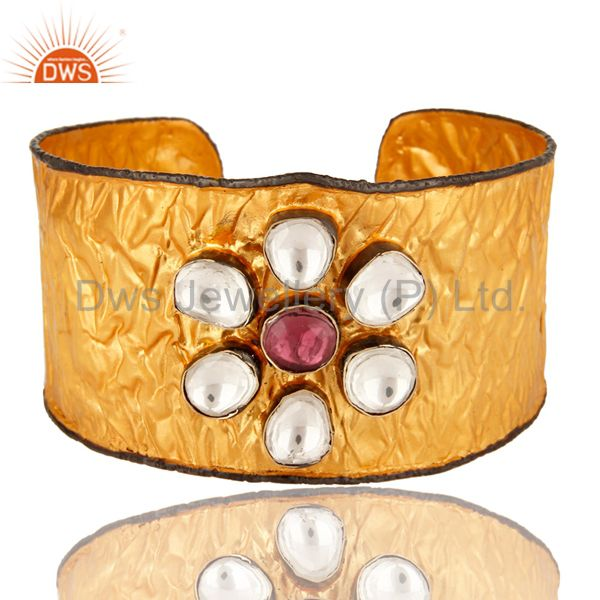 24K Yellow Gold Plated Brass Crystal Polki And Rhodolite Garnet Wide Cuff Bangle