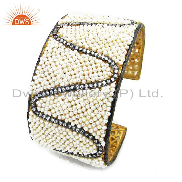 22K Yellow Gold Plated Sterling Silver CZ And Pearl Beaded Wide Cuff Bracelet