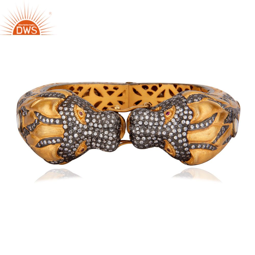 Rhinestone crystals 24k gold zircon panther leopard bangle cuff