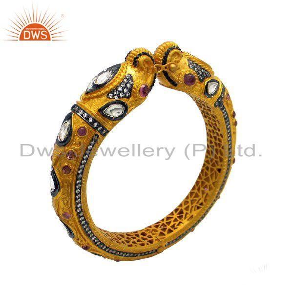 24K Yellow Gold Plated Sterling Silver Tourmaline And CZ Polki Elephant Bangle