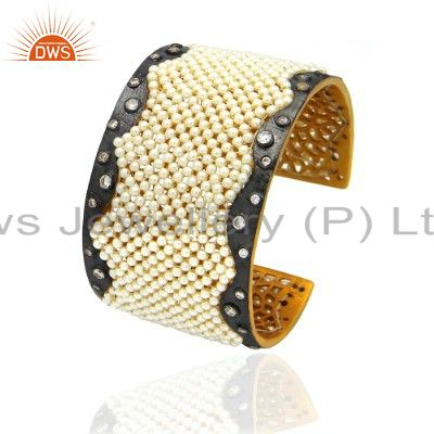 24K Yellow Gold Plated Sterling Silver Seed Pearl And CZ Designer Cuff Bracelet