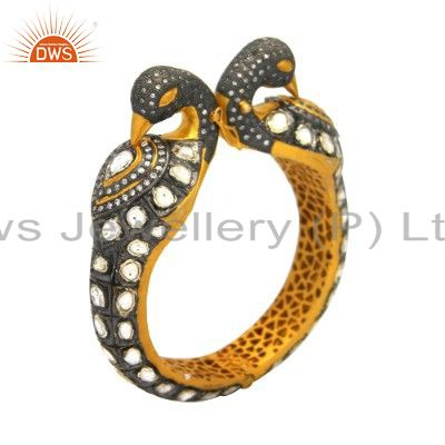 22k gold plated 925 silver seed cz polki designer peacock bangle