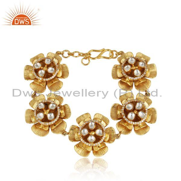 Floral Gold plated Silver 925 Bracelet with Crystal Quartz and Cz