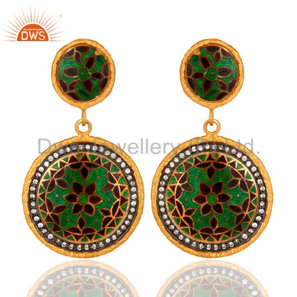 Yellow Gold Plated Sterling Silver Traditional Enamel Design Earrings With CZ