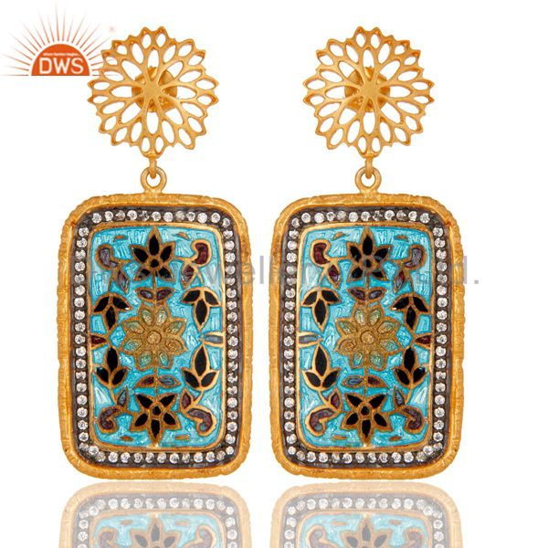 Traditional Handmade Enamel Design Earrings With 18k Gold Plated Sterling Silver