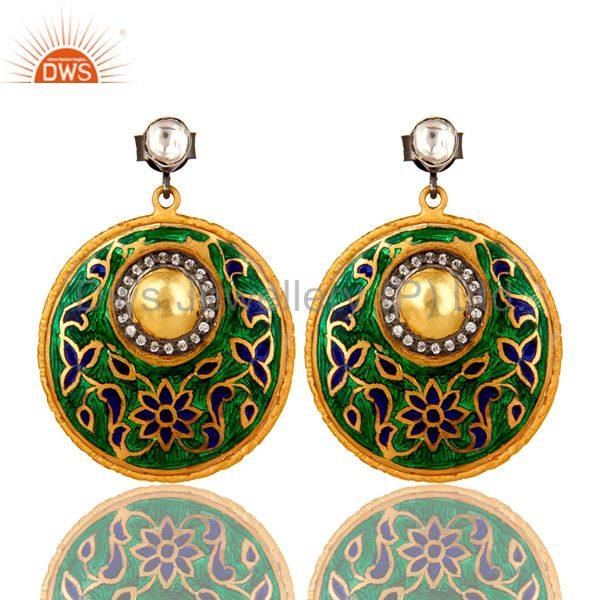 22K Yellow Gold Plated Sterling Silver CZ Polki And Enamel Design Dangle Earring