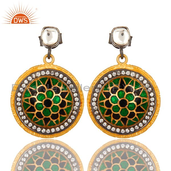 18K Gold Plated Sterling Silver CZ And Enamel Tradition Designer Dangle Earrings