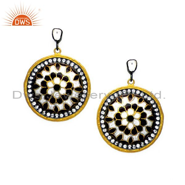 22K Yellow Gold Plated Sterling Silver Hammered CZ And Enamel Disc Earrings