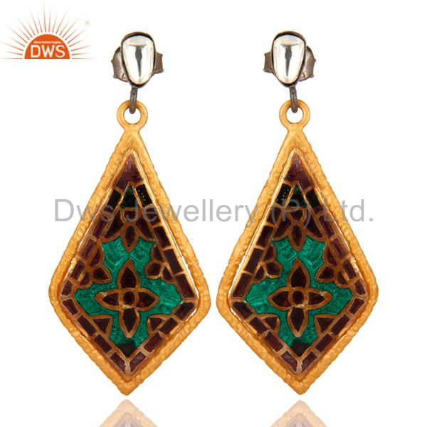 22K Yellow Gold Plated Sterling Silver CZ And Enamel Fashion Dangle Earrings