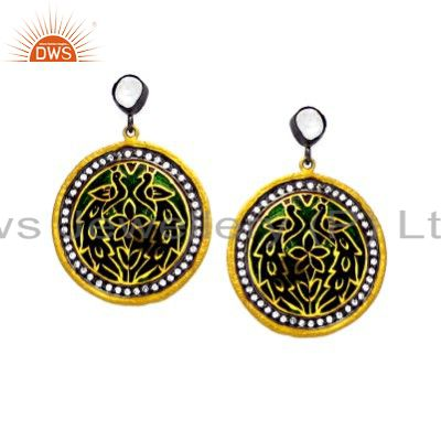 22K Yellow Gold Plated Sterling Silver Hammered CZ And Enamel Fashion Earrings