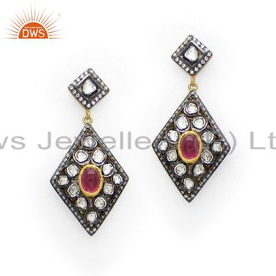 22K Yellow Gold Plated Sterling Silver Tourmaline And CZ Victorian Style Earring