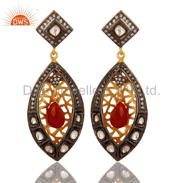 Red Onyx And CZ Crystal Polki Dangle Earrings in 18K Yellow Gold Plated