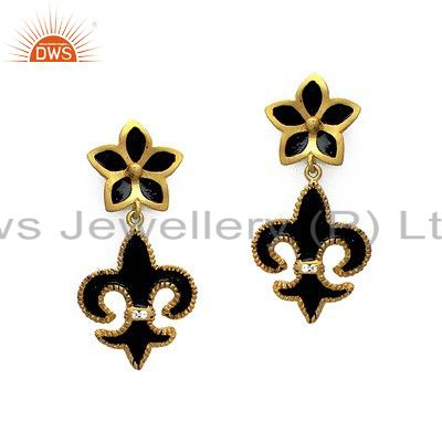 18K Yellow Gold Plated Sterling Silver Black Enamel Fleur De Ise Dangle Earrings