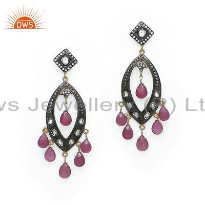 22K Yellow Gold Plated Sterling Silver CZ Polki & Tourmaline Chandelier Earrings