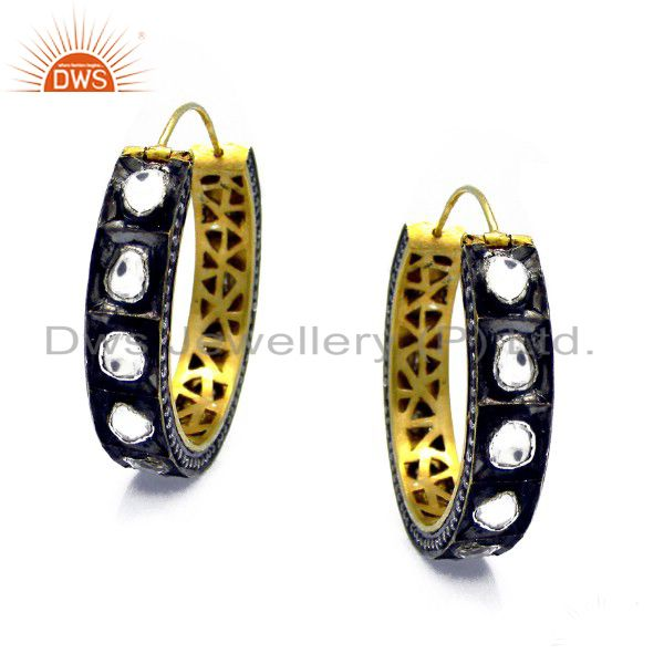 18K Yellow Gold Plated Sterling Silver CZ Crystal Polki Victorian Hoop Earrings