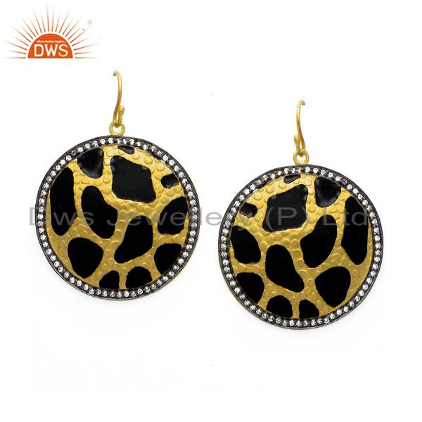 18K Yellow Gold Plated Sterling Silver CZ And Black Enamel Dangle Earrings