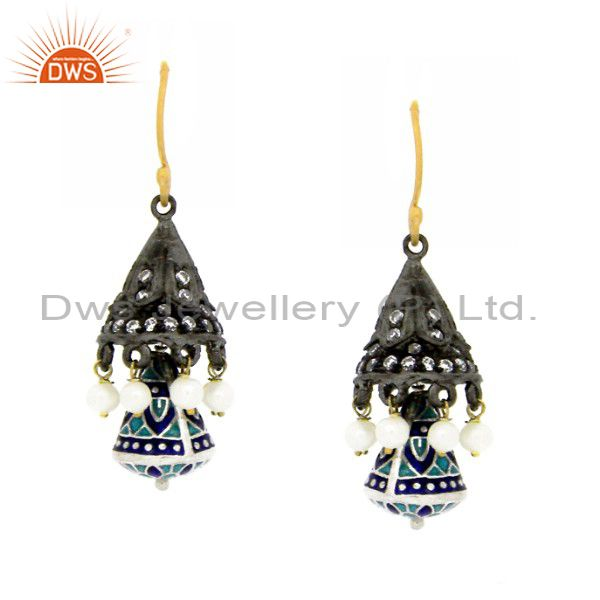 Oxidized And 18K Gold Plated Sterling Silver Pearl And CZ Jhumka Earrings