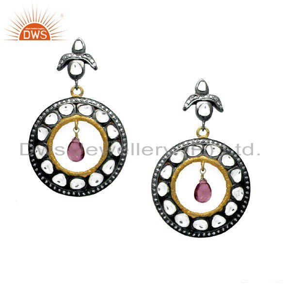 Oxidized And 18K Gold Plated Sterling Silver Tourmaline And CZ Polki Earrings