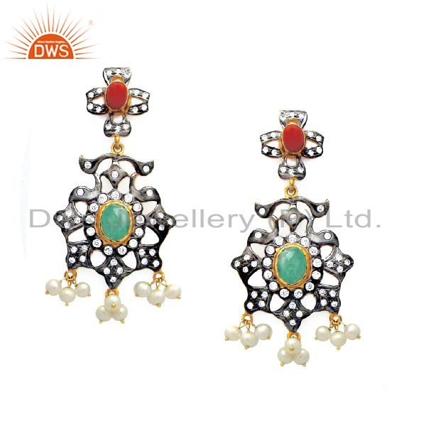 18K Gold Plated Sterling Silver Emerald, Pearl And CZ Chandelier Earrings