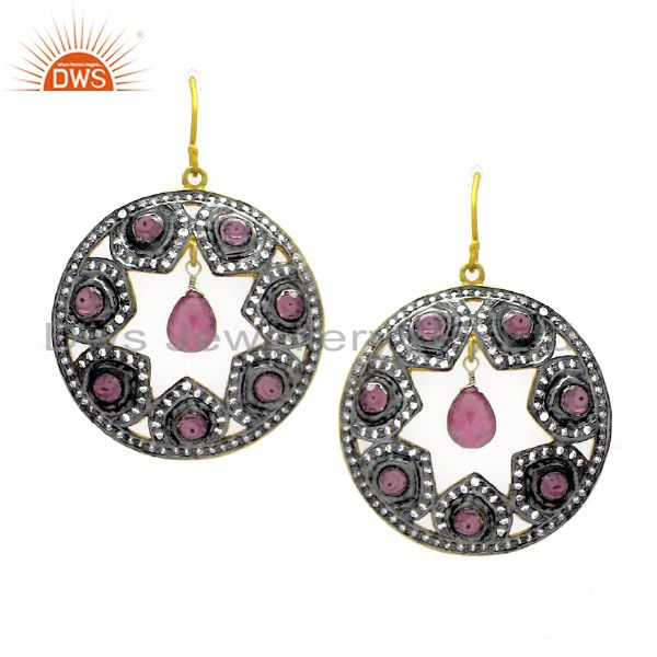 18K Gold Plated Sterling Silver Tourmaline And CZ Victorian Look Dangle Earrings