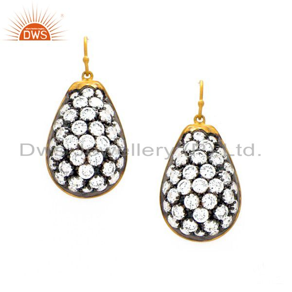 22K Yellow Gold Plated Sterling Silver Cubic Zirconia Dangle Earrings For Womens
