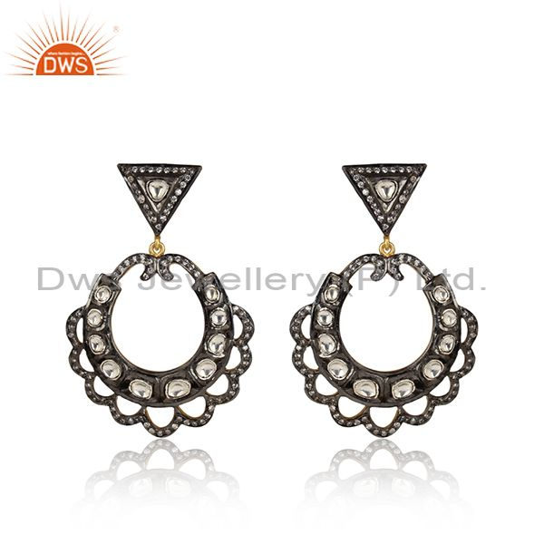 18K Gold Plated Sterling Silver Cubic Zirconia Victorian Style Dangle Earrings
