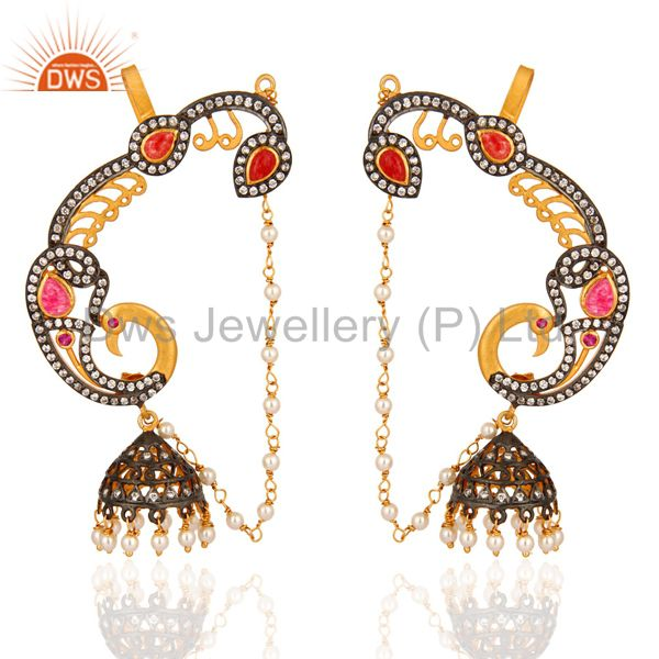 22K Yellow Gold Plated Silver Red Aventurine And CZ Peacock Ear Cuff Earrings