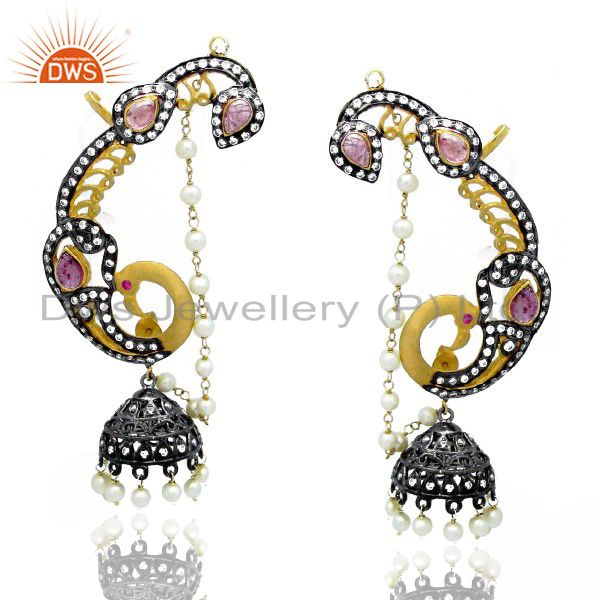 18K Gold Over Sterling Silver CZ And Pink Tourmaline Designer Ear Cuff Earrings