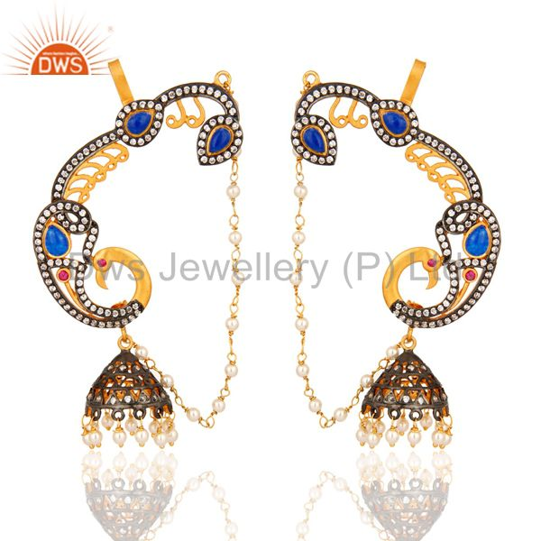 22K Yellow Gold Plated Silver Blue Aventurine And CZ Peacock Ear Cuff Earrings