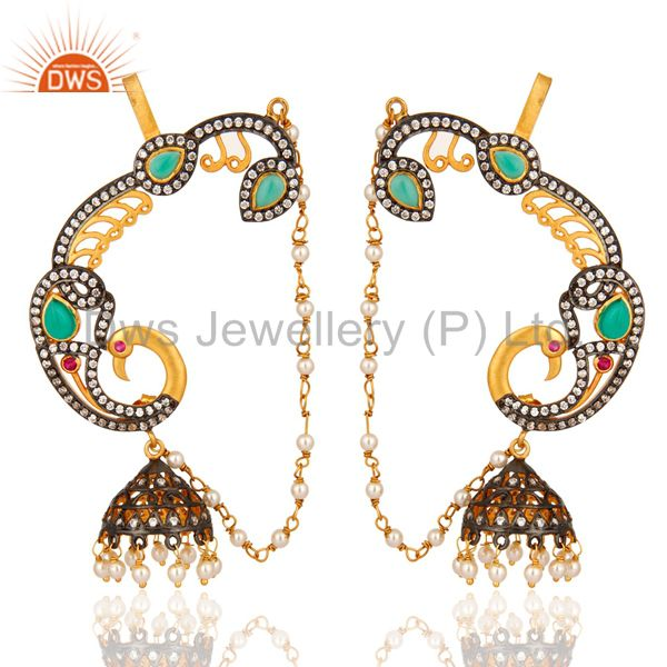 18K Yellow Gold Plated Green Onyx And CZ Designer Fashion Ear Cuff Earrings