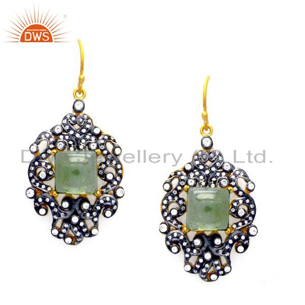 18K Gold Plated Sterling Silver Green Onyx And CZ Victorian Style Dangle Earring