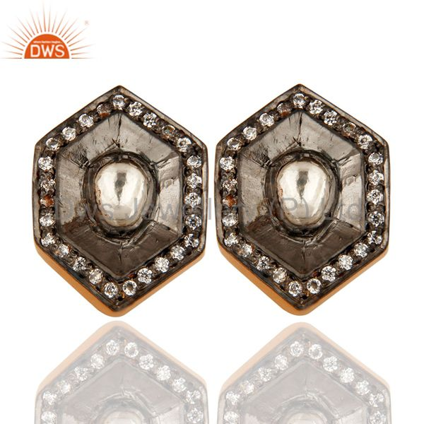 Gold Plated Sterling Silver Cz Polki Vintage Fashion Stud Earring Jewelry
