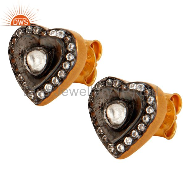 Victorian Style Crystal PolKi Sterling Silver Heart Studs Earrings - Gold Plated