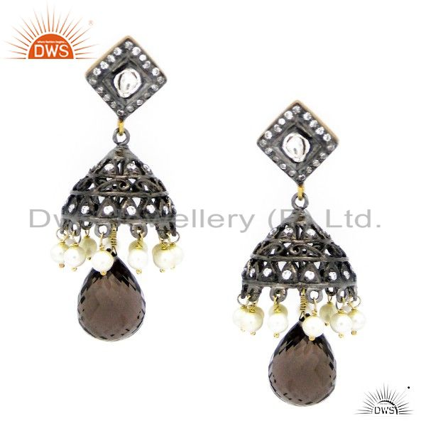 18K Gold Plated Sterling Silver Smoky Quartz & CZ Polki Victorian Jhumka Earring