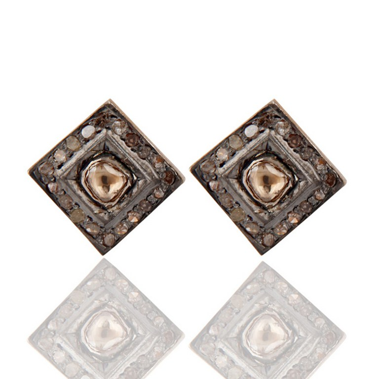 Rose & Antique Cut Diamond Pave Set Sterling Silver Victorian Look Stud Earrings