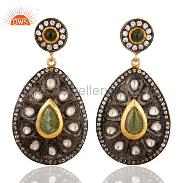 18K Gold Plated Sterling Silver Tourmaline Antique Style Crystal Polki Earrings