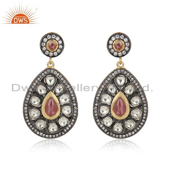 Traditional Design Gold on Silver 925 Pink Tourmaline Earring