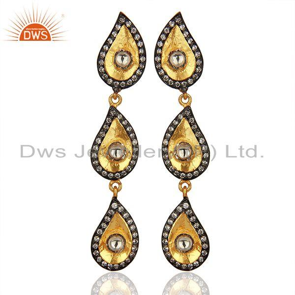 22K Gold Plated Sterling Silver Crystal CZ Polki Victorian Style Dangle Earrings