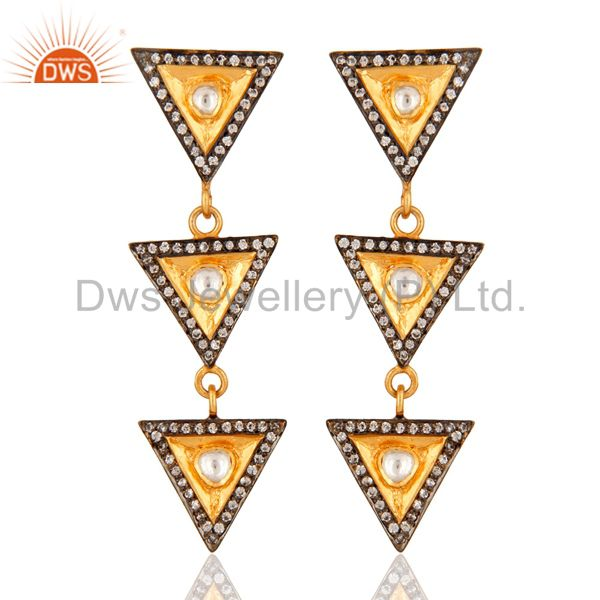 Gold Plated 925 Silver Crystal Quartz Polki Victorian Estate Fashion Earrings